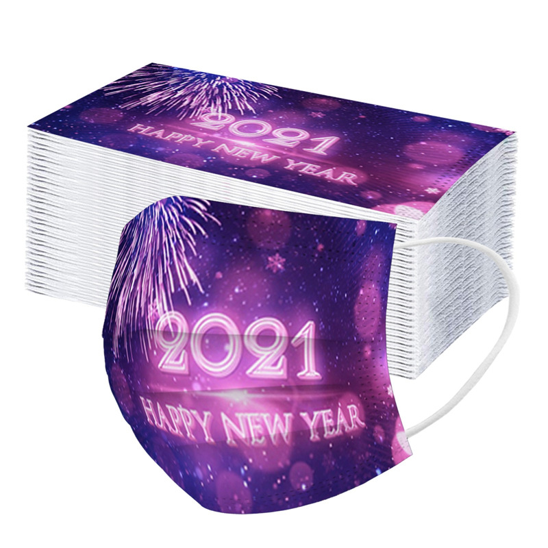 50PCS Disposable Adult 2021 Non-positioned New Year Printed Mask Three-layer Melting Jet Printing 2021 Dust Mask